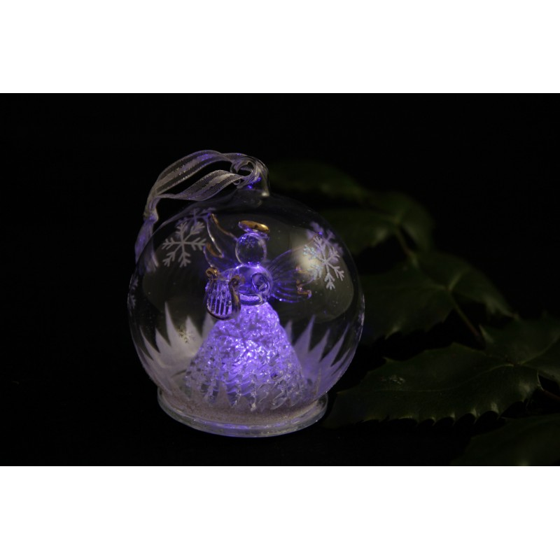 pack de 2 boules de noel en verre avec led jolikau. Black Bedroom Furniture Sets. Home Design Ideas